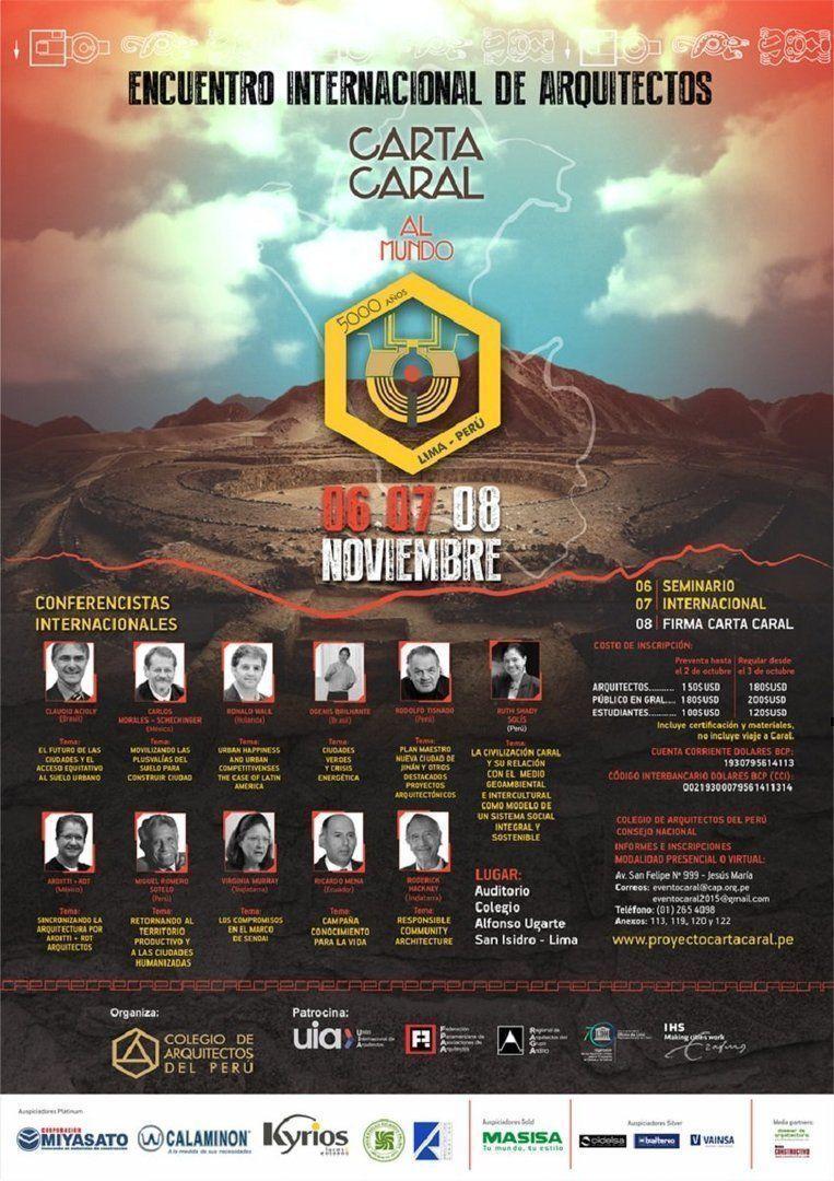 Carta Caral al Mundo: Encuentro Internacional de Arquitectos, Colegio de Arquitectos del Perú