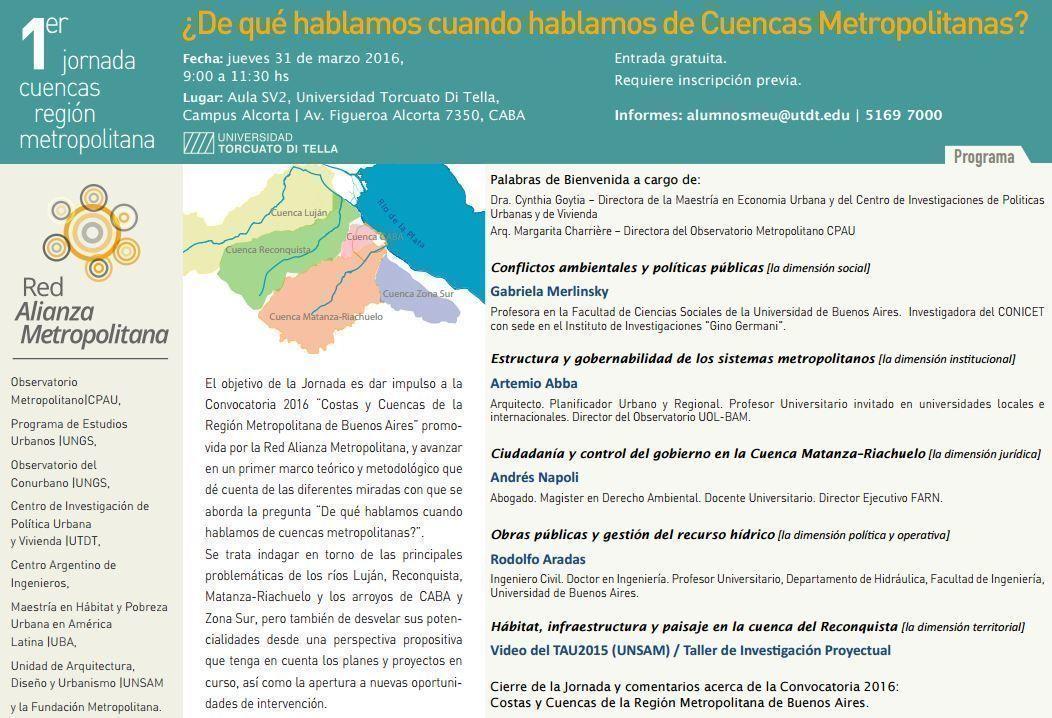 Jornada: ¿De qué hablamos cuando hablamos de cuencas metropolitanas?