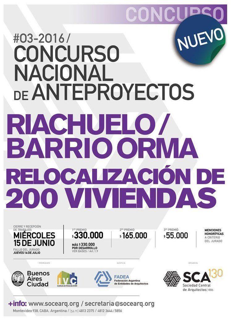 """Lanzamiento """"Concurso Nacional de Anteproyectos para la relocalización de viviendas sobre el Riachuelo – Barrio Orma"""""""