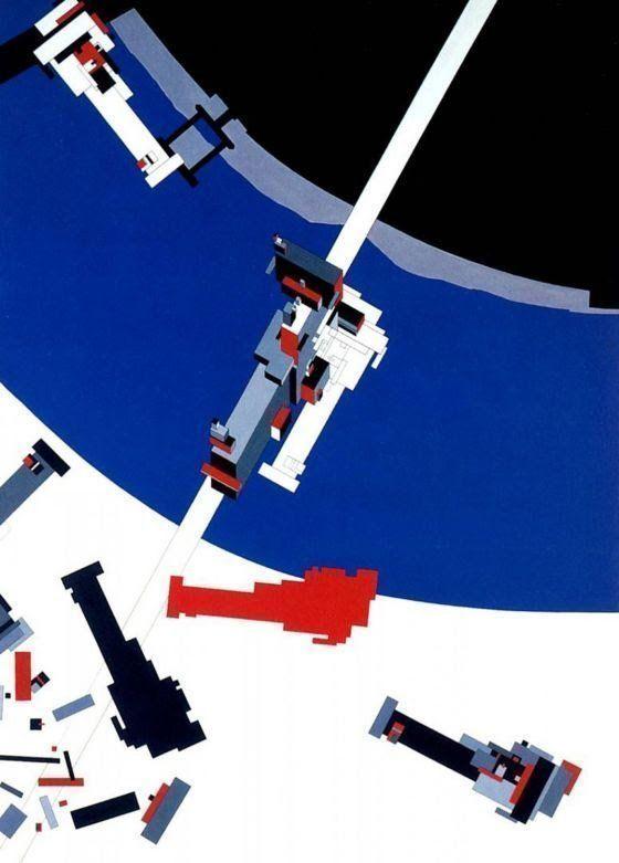 Imagen: Malevich's Tektonik, Londres. Pintura para el proyecto de graduación de Zaha Hadid en la Architectural Association (1976-1977).