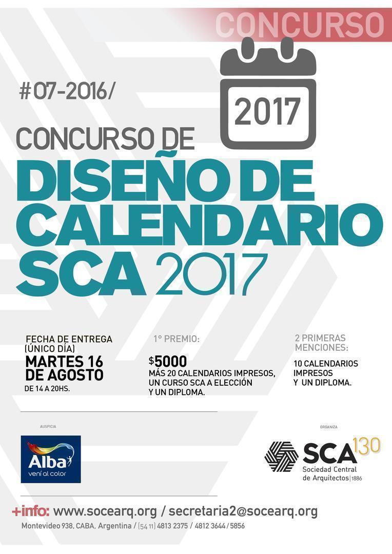Concurso de Diseño del Calendario SCA 2017
