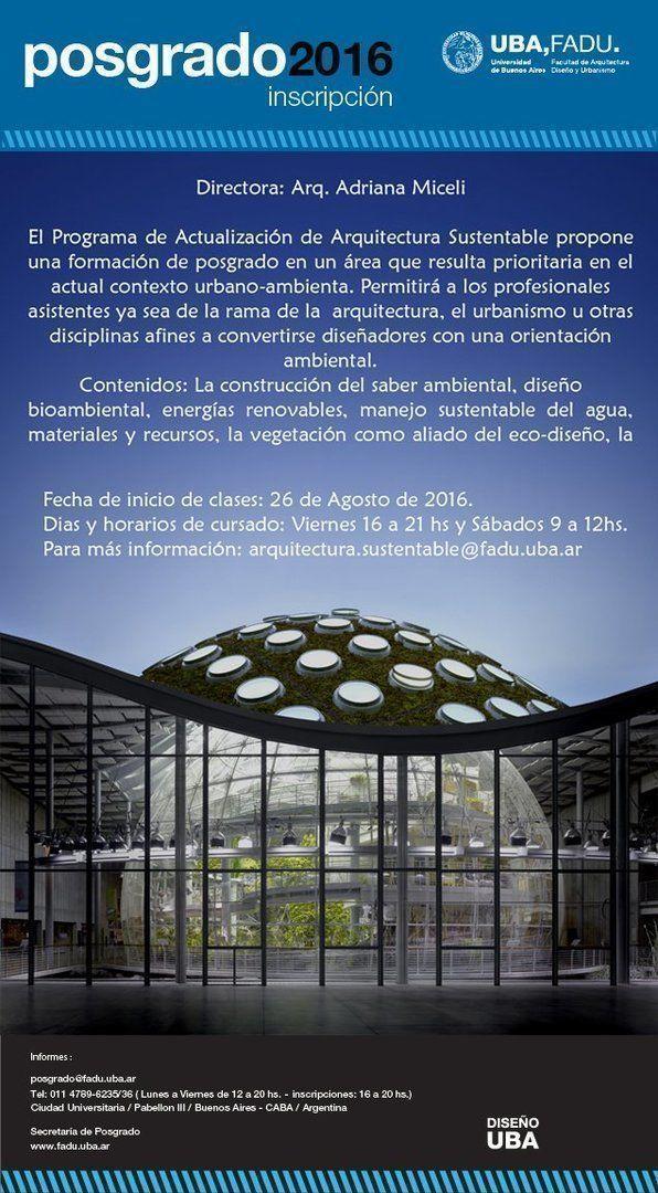 Programa de actualización de Arquitectura Sustentable, inscripción