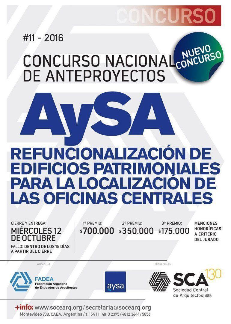 Concurso Nacional de Anteproyectos AySA para la refuncionalización de edificios patrimoniales para la localización de las oficinas centrales
