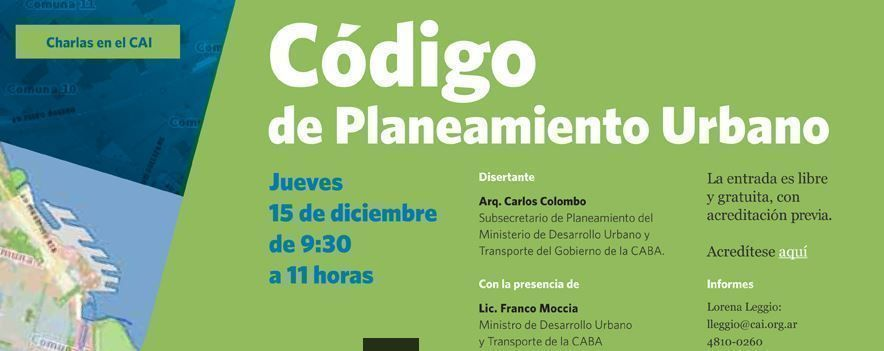 Código de Planeamiento Urbano, actividad libre y gratuita en el CAI
