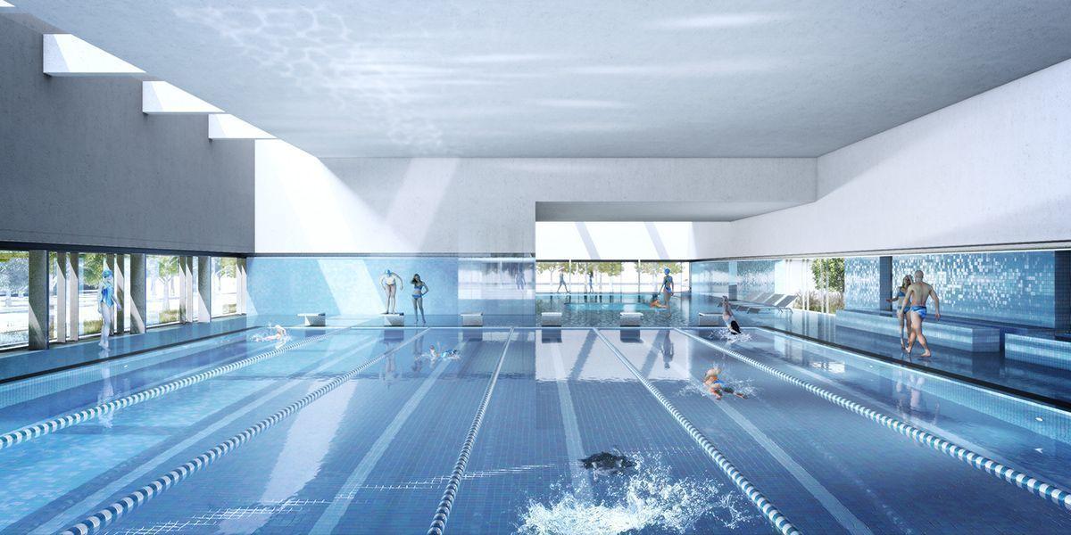 ost indoor swimming pool in leipzig arqa. Black Bedroom Furniture Sets. Home Design Ideas
